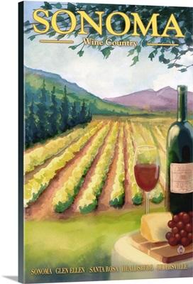 Sonoma County Wine Country: Retro Travel Poster