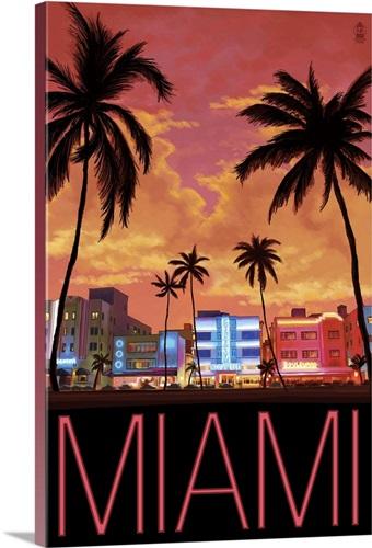 South Beach Miami Florida Retro Travel Poster