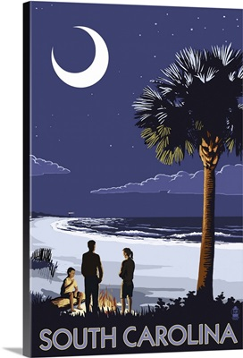 South Carolina Palmetto Moon: Retro Travel Poster