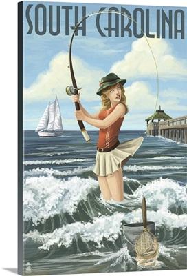 South Carolina - Pinup Girl Surf Fishing: Retro Travel Poster