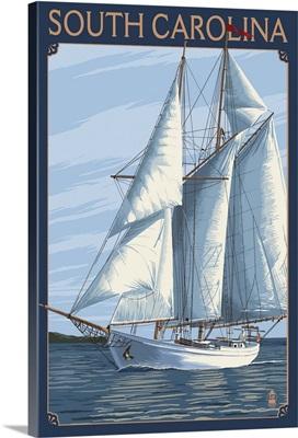 South Carolina Sailboat: Retro Travel Poster