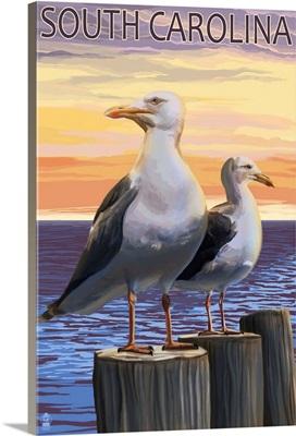 South Carolina - Sea Gulls: Retro Travel Poster