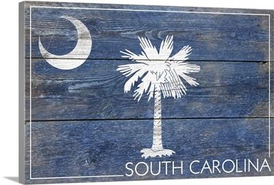 South Carolina State Flag on Wood