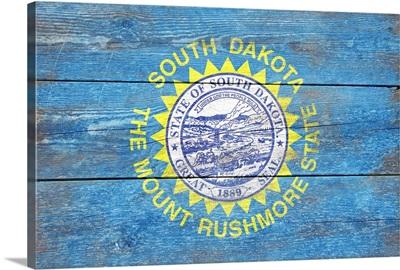 South Dakota State Flag on Wood