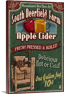 South Deerfield, Massachusetts - Apple Cider Vintage Sign: Retro Travel Poster