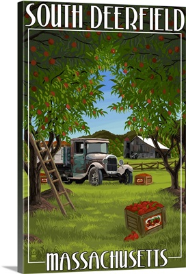 South Deerfield, Massachusetts - Apple Orchard Harvest: Retro Travel Poster