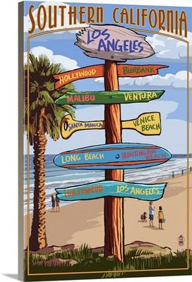 Southern Los Angeles, California - Destination Sign: Retro Travel Poster