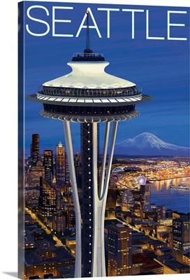 Space Needle Aerial View - Seattle, WA: Retro Travel Poster