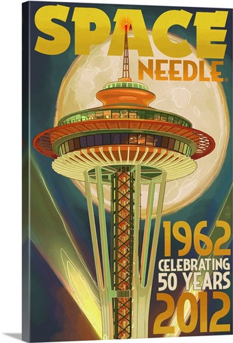 Space Needle and Full Moon - Seattle, WA: Retro Travel Poster Wall ...