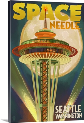 Space Needle and Full Moon - Seattle, WA: Retro Travel Poster