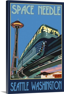 Space Needle and Monorail - Seattle: Retro Travel Poster