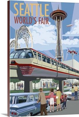 Space Needle Opening Day Scene - Seattle, WA: Retro Travel Poster