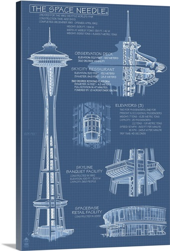 Space needle technical drawing blueprint retro travel poster wall space needle technical drawing blueprint retro travel poster malvernweather Image collections