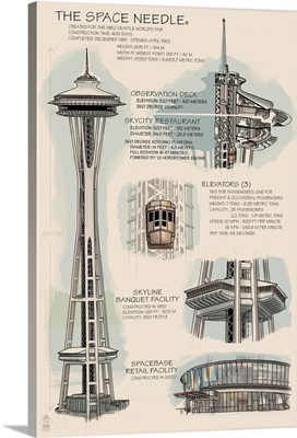 Space Needle Technical Drawing (Naturals): Retro Travel Poster