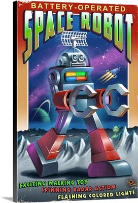 Space Robot: Retro Art Poster