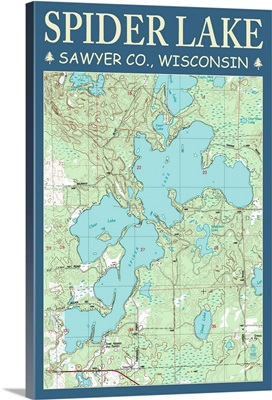 Spider Lake Chart - Sawyer County, Wisconsin: Retro Travel Poster