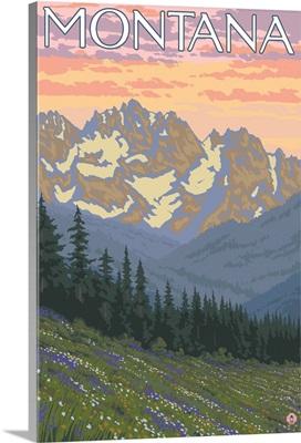 Spring Flowers - Montana: Retro Travel Poster