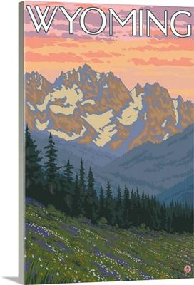 Spring Flowers - Wyoming: Retro Travel Poster
