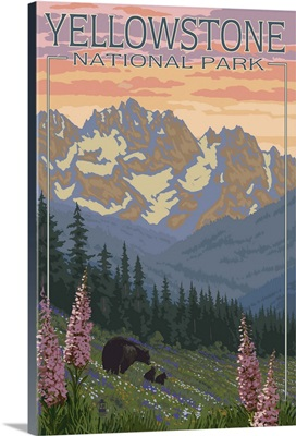 Spring Flowers - Yellowstone National Park: Retro Travel Poster