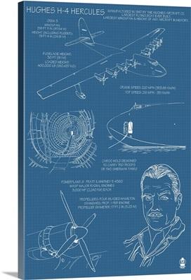 Spruce Goose - Hughes H-4 Hercules Blueprint: Retro Travel Poster