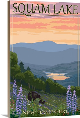 Squam Lake, New Hampshire - Bears and Spring Flowers: Retro Travel Poster
