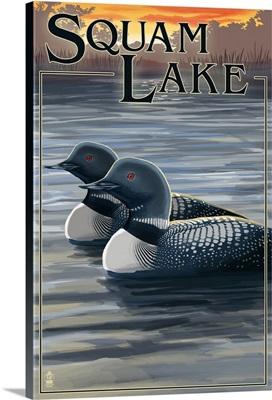Squam Lake, New Hampshire - Loon Scene: Retro Travel Poster
