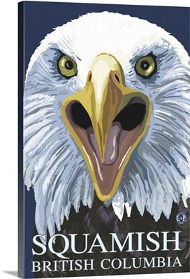 Squamish, BC - Eagle Screaming: Retro Travel Poster