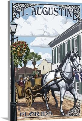 St. Augustine, Florida - Carriage Scene: Retro Travel Poster