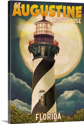 St. Augustine, Florida - Lighthouse and Moon: Retro Travel Poster