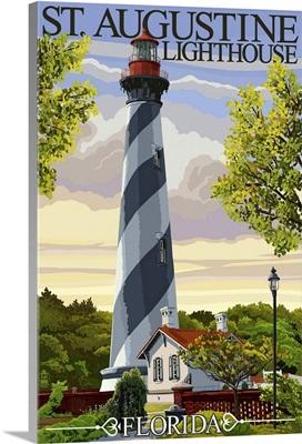 St. Augustine, Florida Lighthouse: Retro Travel Poster