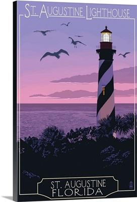 St. Augustine, Florida - Lighthouse: Retro Travel Poster