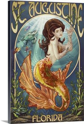 St. Augustine, Florida - Mermaid: Retro Travel Poster