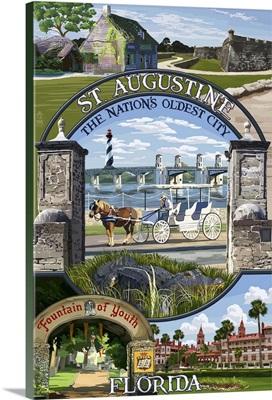 St. Augustine, Florida - Montage Scenes: Retro Travel Poster