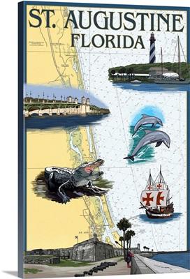St. Augustine, Florida - Nautical Chart: Retro Travel Poster