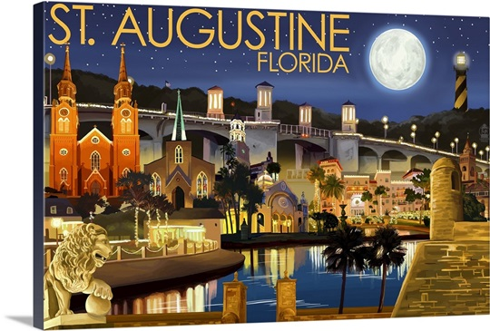 St Augustine Florida Night Scene Retro Travel Poster