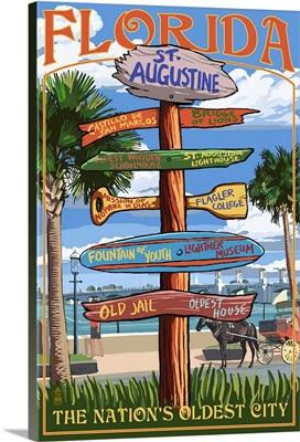 St. Augustine, Florida - Sign Destinations: Retro Travel Poster
