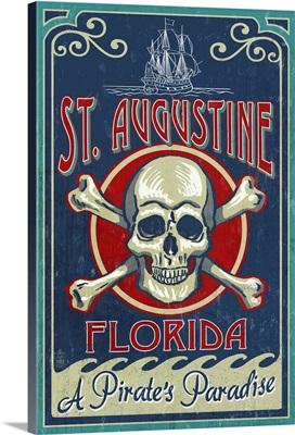 St Augustine, Florida - Skull and Crossbones: Retro Travel Poster