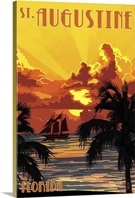 St. Augustine, Florida - Sunset and Ship: Retro Travel Poster