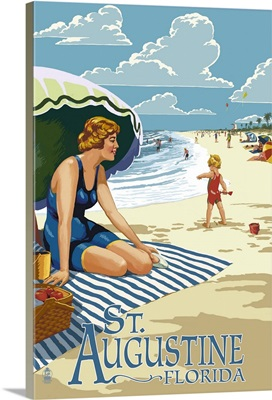 St. Augustine, Florida - Woman on the Beach: Retro Travel Poster