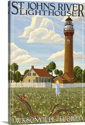 St. Johns River Lighthouse - Jacksonville, Florida: Retro Travel Poster