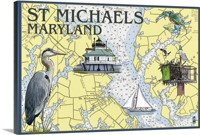 St. Michaels, Maryland - Nautical Chart: Retro Travel Poster