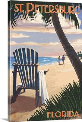 St. Petersburg, Florida - Adirondack Chair on the Beach: Retro Travel Poster