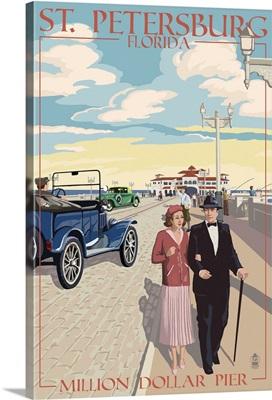St. Petersburg, Florida - Million Dollar Pier: Retro Travel Poster