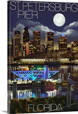St. Petersburg, Florida - Night Skyline and Pier: Retro Travel Poster