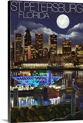 St. Petersburg, Florida - Night Skyline: Retro Travel Poster