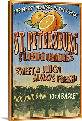 St. Petersburg, Florida - Orange Grove Vintage Sign: Retro Travel Poster