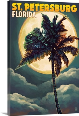 St. Petersburg, Florida - Palms and Moon: Retro Travel Poster
