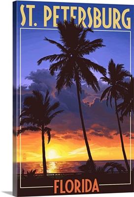 St. Petersburg, Florida - Palms and Sunset: Retro Travel Poster