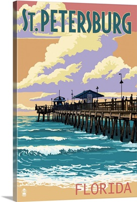 St Petersburg, Florida - Pier and Sunset: Retro Travel Poster