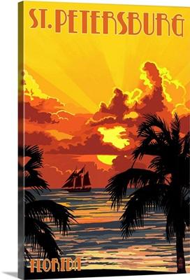 St. Petersburg, Florida - Sunset and Ship: Retro Travel Poster